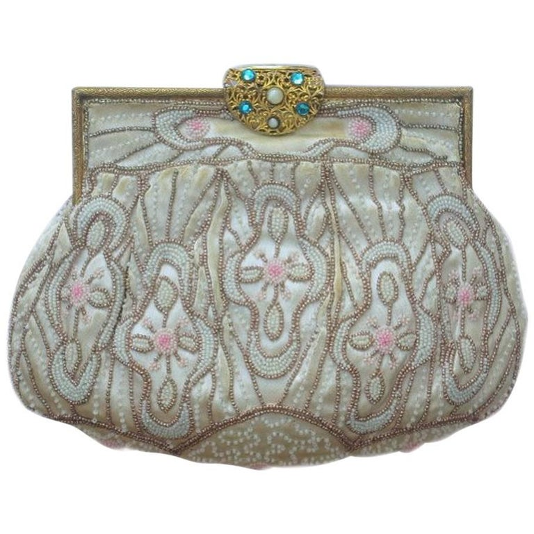Art Deco Bag with Blue and Pink Pastel Beads, and White and Bronze Beads