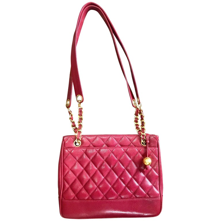Vintage CHANEL cherry red caviar leather quilted shoulder bag, tote with cc ball