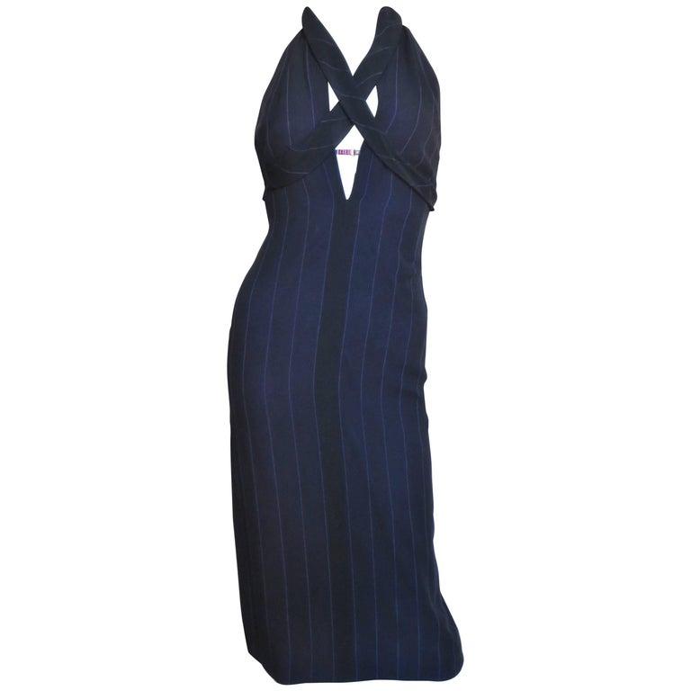 1990s Gianni Versace Cleavage Hardware Plunge Halter Dress