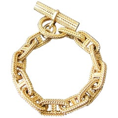 Hermès By Georges Lenfant Chaine D'ancre Braided Yellow Gold Toggle Bracelet