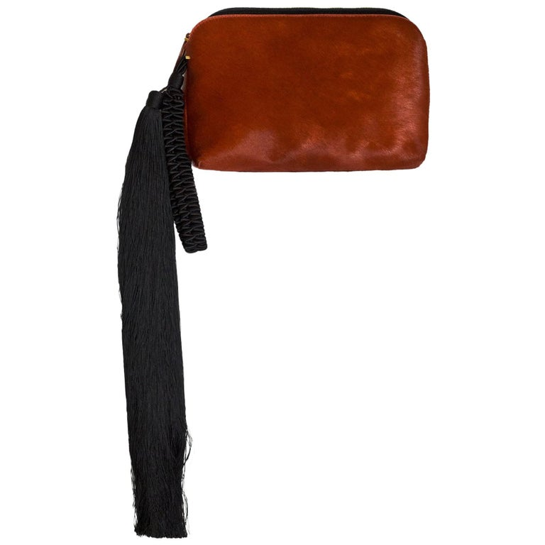 The Row Rust Calf-Hair Tassel Wristlet Clutch Bag w. Dust Bag & Tags rt. $2,450