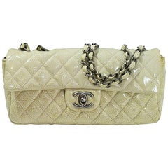 Chanel Beige Distressed Patent Leather Quilted East/West Flap Bag