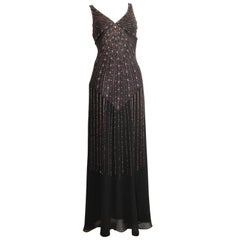 Sue Wong Black Silk Beaded Maxi Bias Cut Dress Size 2.