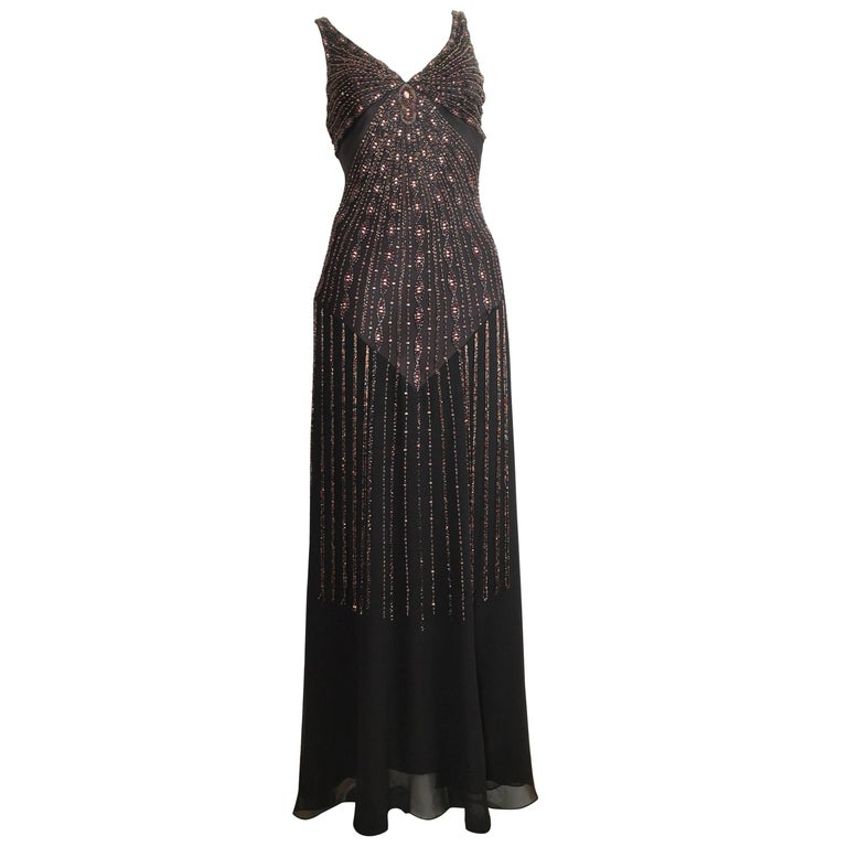 Sue Wong Black Silk Beaded Maxi Bias Cut Dress Size 2 For