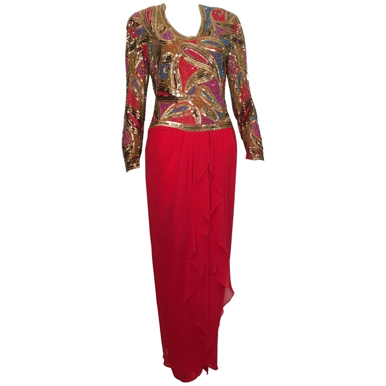Naeem Khan 1980s Silk and Beaded Gown Size 8.