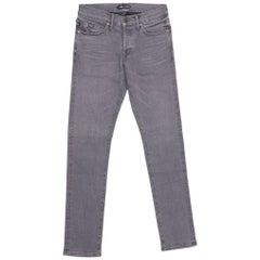 Tom Ford Selvedge Denim Jeans Medium Grey Wash Size 34 Slim Fit Model