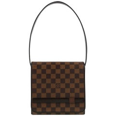 "LOUIS VUITTON c.2001 ""Tribeca Mini"" Brown Damier Ebene Flap Top Shoulder Bag"
