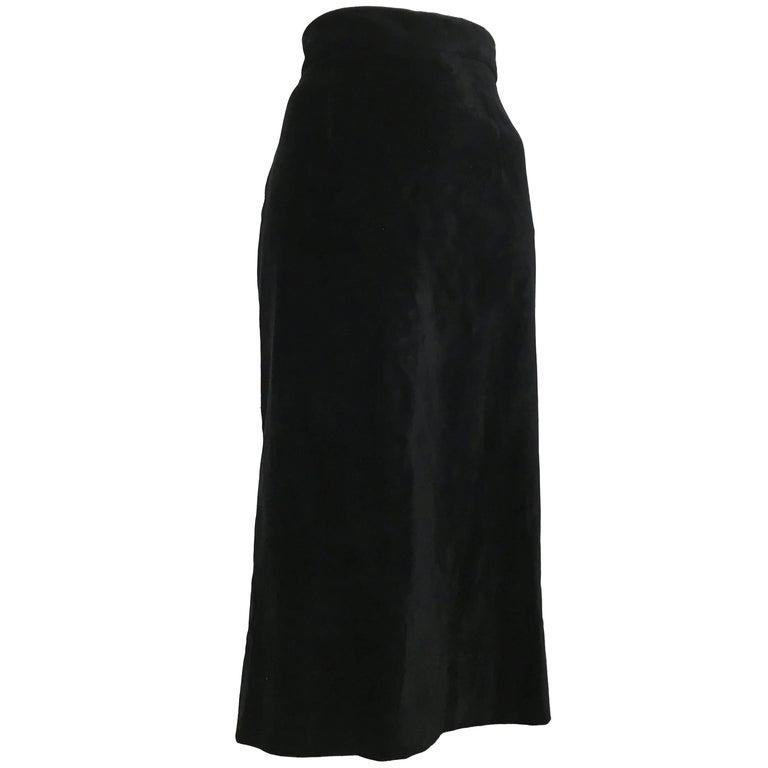 Moschino Black Velvet Long Straight Skirt