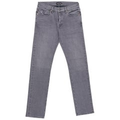 Tom Ford Selvedge Denim Jeans Medium Grey Wash Size 36 Straight Fit Model