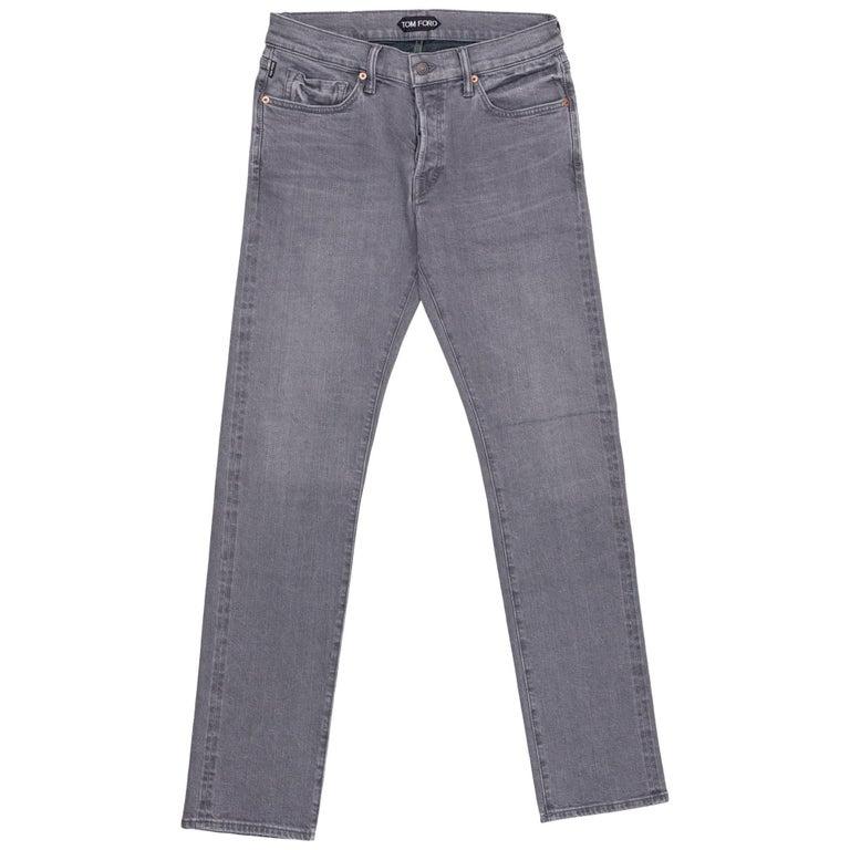 Tom Ford Selvedge Denim Jeans Medium Grey Wash Size 36 Straight Fit Model