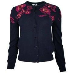 Oscar De La Renta Black Wool Beaded Floral Cardigan Sz Small