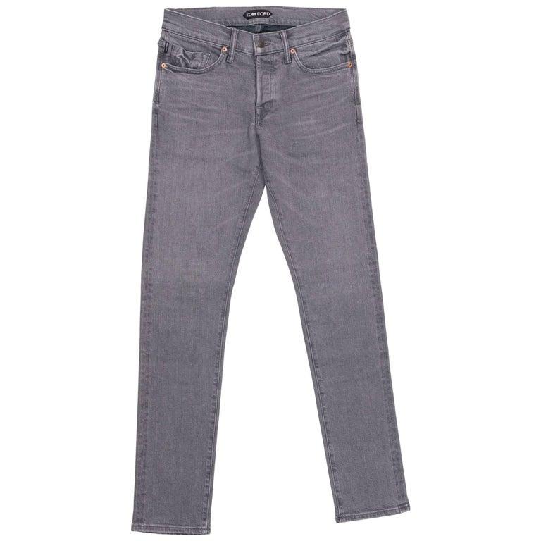 Tom Ford Selvedge Denim Jeans Light Grey Wash Size 32 Regular Fit Model