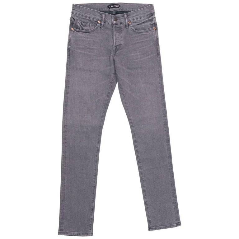 8eb4f6744030 Tom Ford Selvedge Denim Jeans Grey Vintage Wash Size 36 Straight Fit Model  For Sale