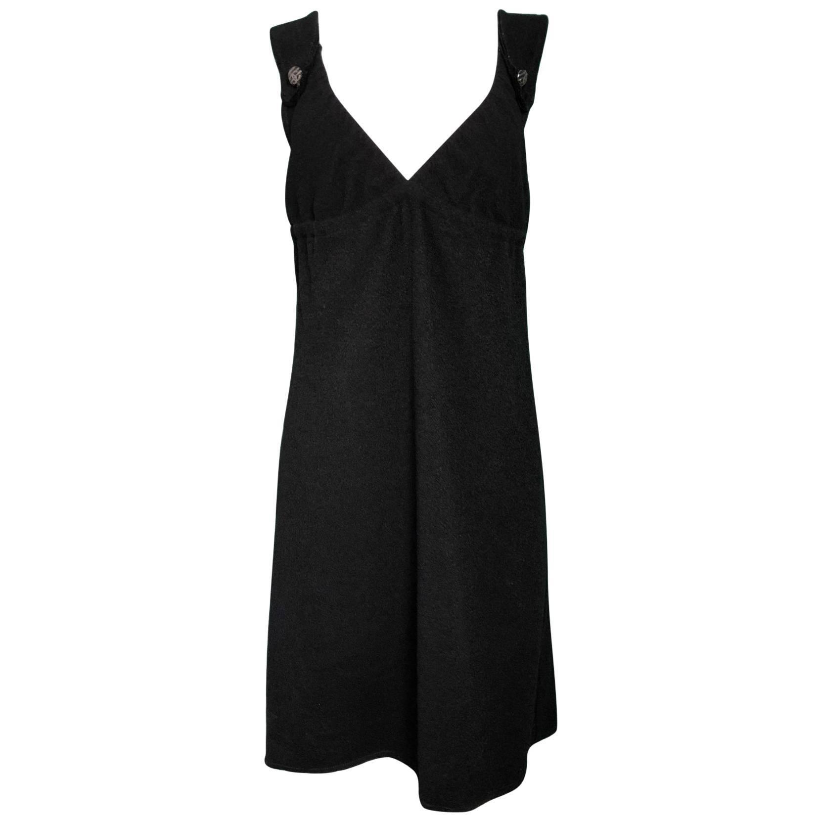 Chanel Black Wool Dress Sz FR42