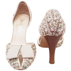 Chanel Multi Color Tweed Pumps with Wooden Round Heels