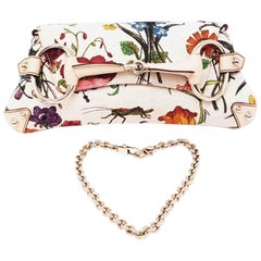 Gucci Flora Horsebit Canvas Shoulder Bag