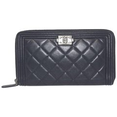 Chanel Zip Around Black Leather Wallet