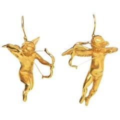 Gabriella Kiss 18k Yellow Gold Plated Vermeil Cupid Pierced Earrings