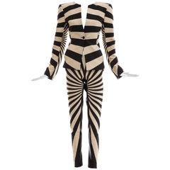 Gareth Pugh Woven Striped Pattern Pantsuit, Spring 2017