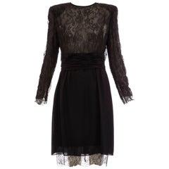 Akris Made In Switzerland Black Silk Evening Dress Lace Overlay, Circa 1980's