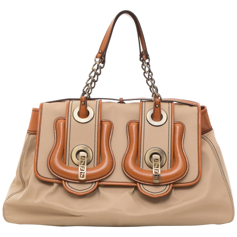 Fendi Khaki Canvas & Cognac Leather Trim B Handbag Jr4tH7t0E