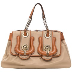 Fendi Khaki Canvas & Cognac Leather Trim B Handbag