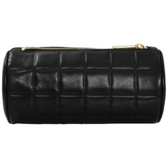 Chanel Black Lambskin Leather Square Quilted CC Cosmetic Case Bag