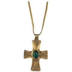 Yves Saint Laurent YSL Cross Pendant Necklace 1970s