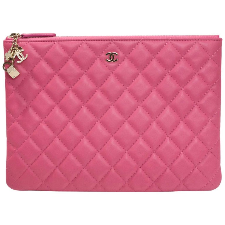 Chanel Pink Lambskin Medium Casino O-Case Clutch Bag with Box