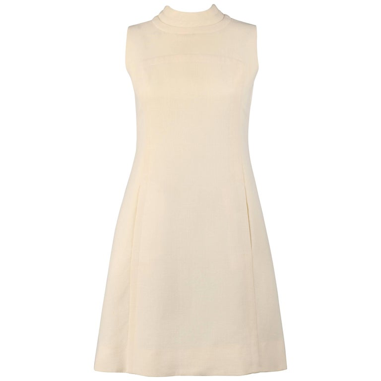 ELEGANCE Paris c.1960's Cream Wool Sleeveless Mod A Line Cocktail Dress