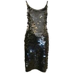 1980s Oleg Cassini Black Fish Scale Sheath Dress