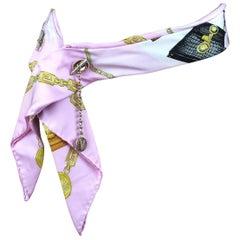 Versace Pink Silk Belt with Medusa Print & Gold Chain