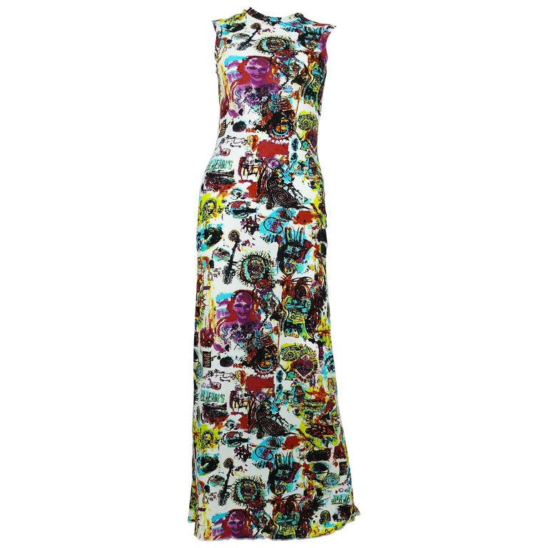 Jean Paul Gaultier Vintage Basquiat Print Inspired Maxi Dress Size S