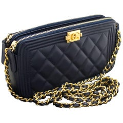 Chanel Boy Navy Wallet On Chain WOC Double Zip Lamb Shoulder Bag