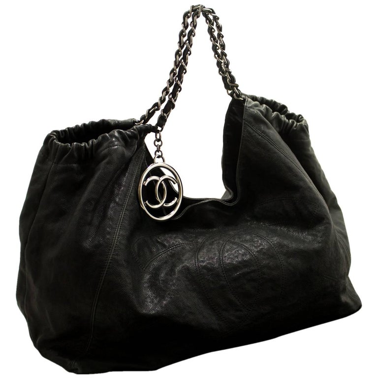 57699371e43ef0 CHANEL Coco Cabas GM Caviar Large Chain Shoulder Bag Black Leather For Sale