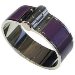 Hermès Hinged Cuff Bracelet in Palladium Plated Brass and Purple Enamel