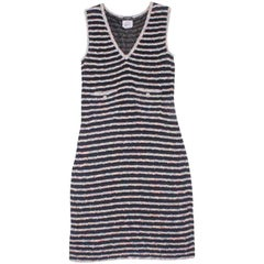 Chanel Sleeveless Knit Dress in Multicolored and Night-Blue Fabric