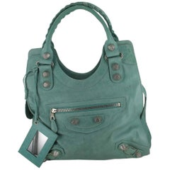 BALENCIAGA Top Handle Bag in Aged Green Turquoise Leather