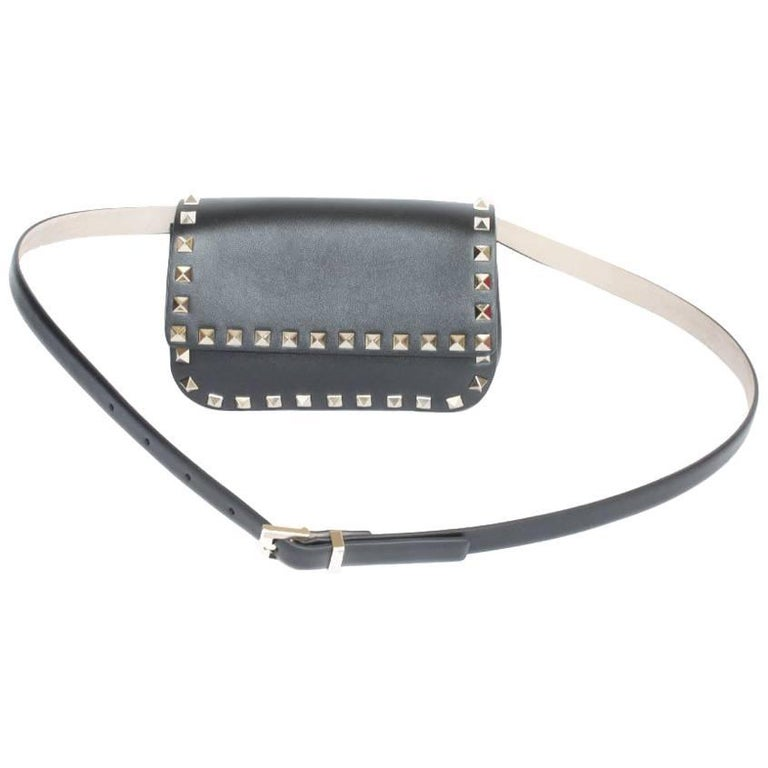 VALENTINO  Rockstud Line Clutch in Black Leather and Gilded Studs
