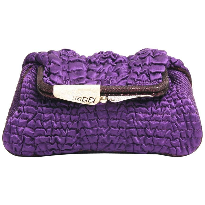 FENDI Clutch in Purple Silk with Smoke Effect