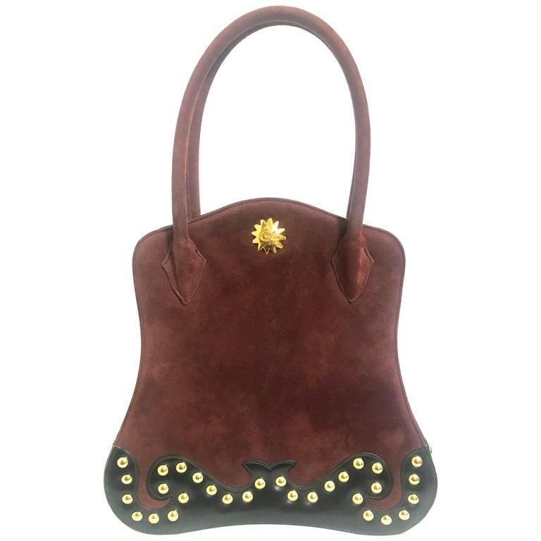Vintage Christian Lacroix wine brown suede black leather sexy feminine shape bag