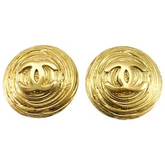 1988 Chanel Gold-Plated Texturized Round Logo Earrings