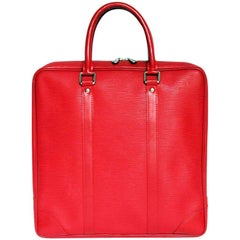 Louis Vuitton Briefcase in Red Epi Leather with Cow Leather Finish