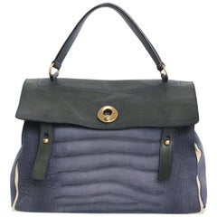 Yves Saint Laurent Two-Tone Green and Blue Leather Muse II Bag