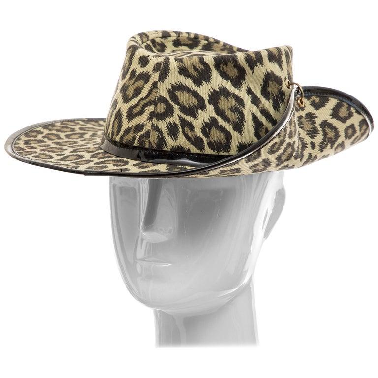 Junior Gaultier Cotton Leopard Print Hat Black Patent Leather, Circa 1989 For Sale