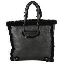 Balenciaga Papier Ledger Handbag Shearling