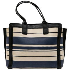 Chloe Bag in White and Blue Striped Leather with Black Borders