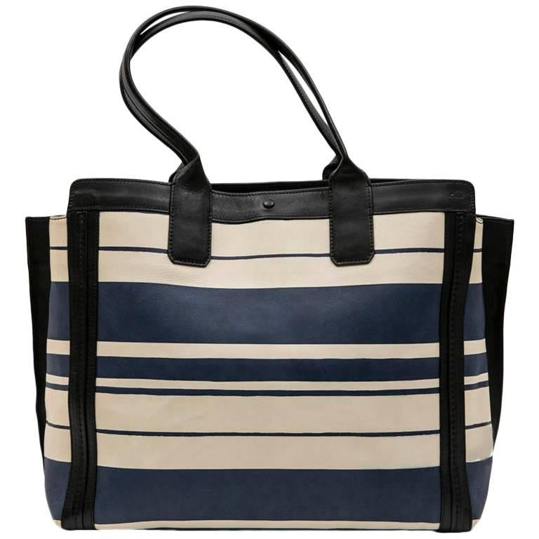 Chloe Bag in White and Blue Striped Leather with Black Borders For Sale