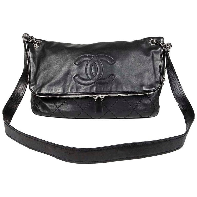Chanel Black Quilted Smooth Leather Messenger Bag