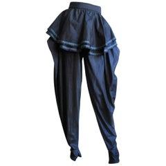 1980s Gianni Versace Silk Pants With Peplum